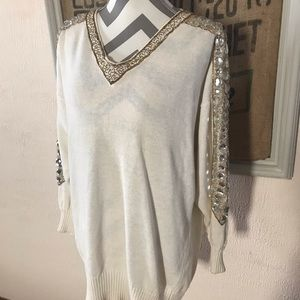 White Vintage Jeweled Sweater